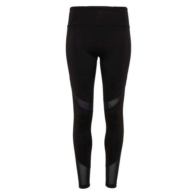 Black - Front - TriDri Womens-Ladies Mesh Tech Panel Full-Length Leggings