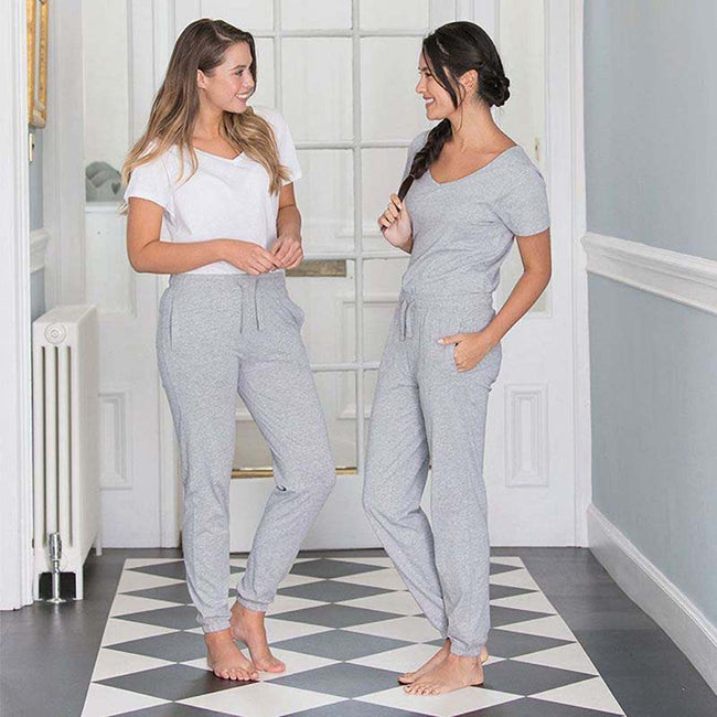 Heather Grey - Close up - Comfy Co Womens-Ladies Sleepy Pants