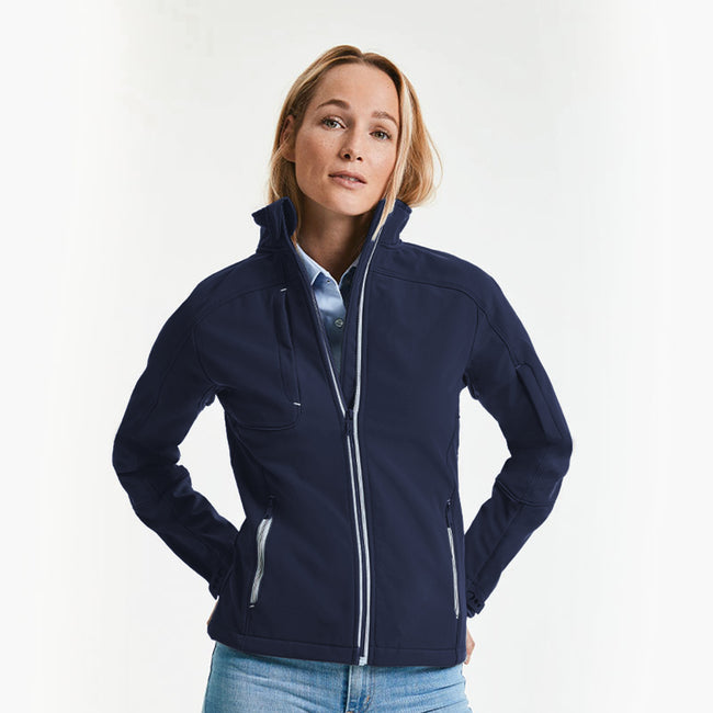French Navy - Back - Russell Women-Ladies Bionic Softshell Jacket