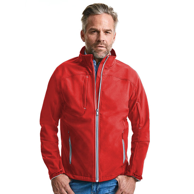 Classic Red - Back - Russell Mens Bionic Softshell Jacket