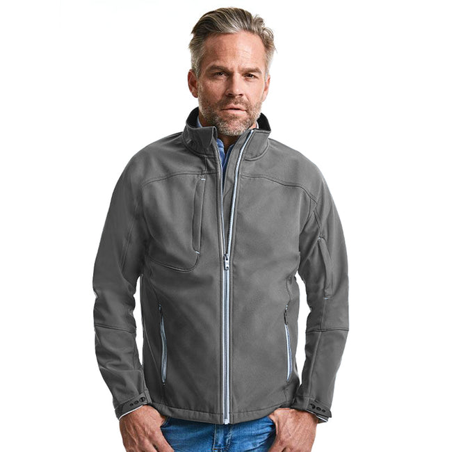 Iron Grey - Back - Russell Mens Bionic Softshell Jacket