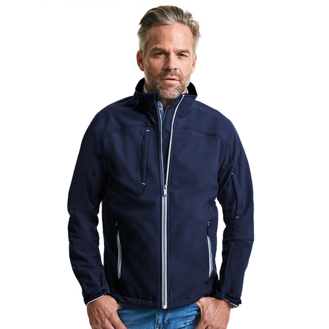 French Navy - Back - Russell Mens Bionic Softshell Jacket