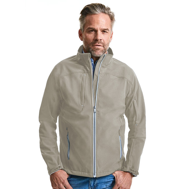 Stone - Back - Russell Mens Bionic Softshell Jacket