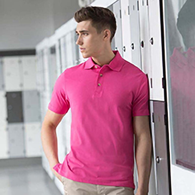 Fuchsia - Front - Henbury Mens Classic Plain Polo Shirt With Stand Up Collar