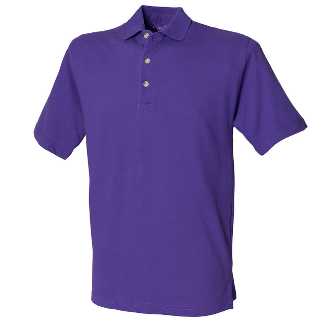 Fuchsia - Back - Henbury Mens Classic Plain Polo Shirt With Stand Up Collar