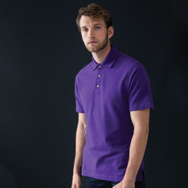 Purple - Front - Henbury Mens Classic Plain Polo Shirt With Stand Up Collar