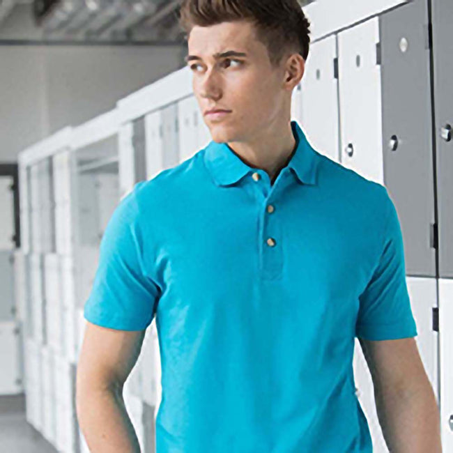 Turquoise - Front - Henbury Mens Classic Plain Polo Shirt With Stand Up Collar