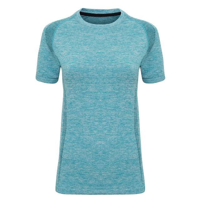 Turquoise - Front - TriDri Womens-Ladies Seamless 3D Fit Multi Sport Performance Short Sleeve Top