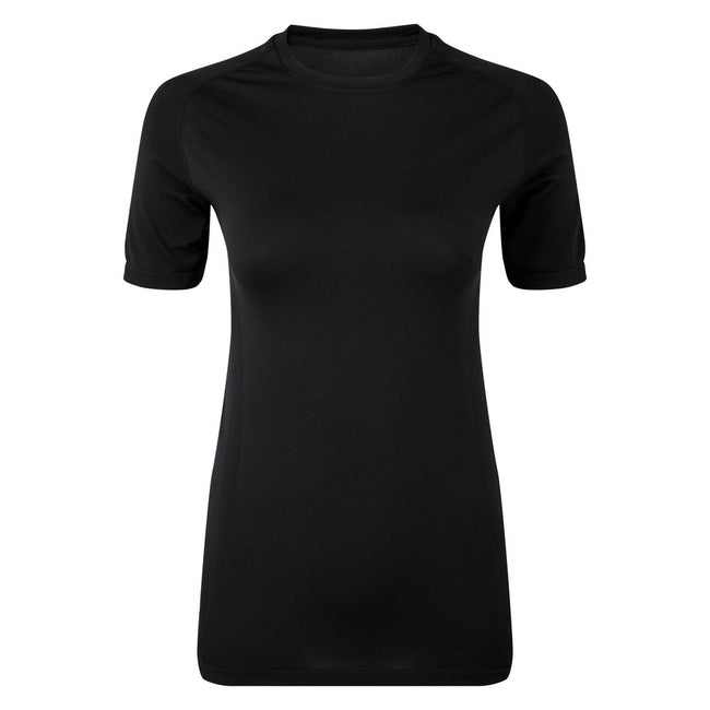 Full Black - Front - TriDri Womens-Ladies Seamless 3D Fit Multi Sport Performance Short Sleeve Top