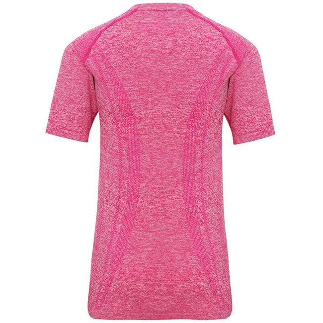 Pink - Back - TriDri Womens-Ladies Seamless 3D Fit Multi Sport Performance Short Sleeve Top