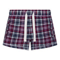 Navy-Pink - Front - Comfy Co Womens-Ladies Gals Flannel Shorts