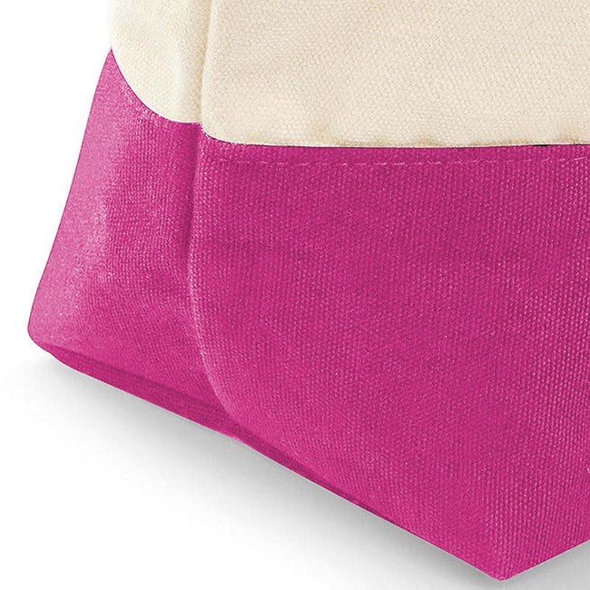 Natural-True Pink - Back - Westford Mill Dipped Base Canvas Accessory Bag