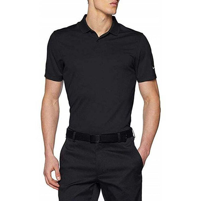 Black-Cool Grey - Side - Nike Mens Victory Polo Solid Shirt