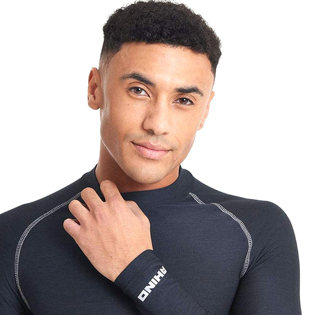 Navy Heather - Back - Rhino Mens Long Sleeve Baselayer Top