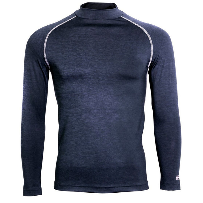 Navy Heather - Front - Rhino Mens Long Sleeve Baselayer Top