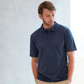 Heather Navy - Back - Henbury Mens Coolplus® Pique Polo Shirt