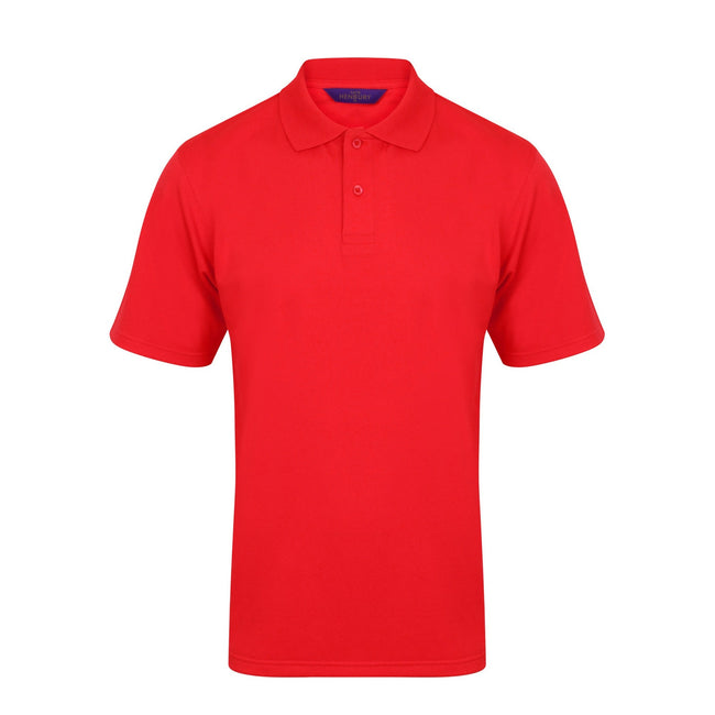 Red - Front - Henbury Mens Coolplus® Pique Polo Shirt