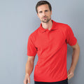 Red - Back - Henbury Mens Coolplus® Pique Polo Shirt