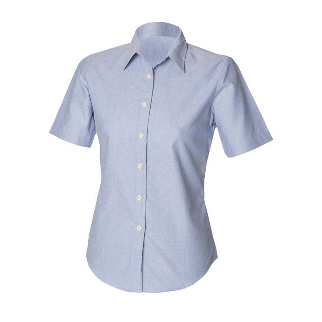 Blue - Front - Henbury Womens-Ladies Short Sleeve Classic Oxford Work Shirt