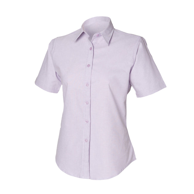Lilac - Front - Henbury Womens-Ladies Short Sleeve Classic Oxford Work Shirt
