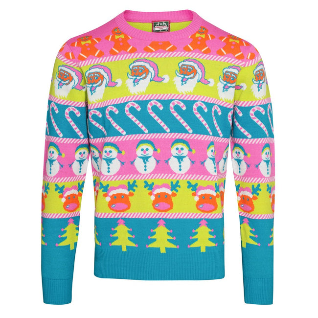Multicoloured - Front - Christmas Shop Adults Unisex Multi Character Christmas Jumper