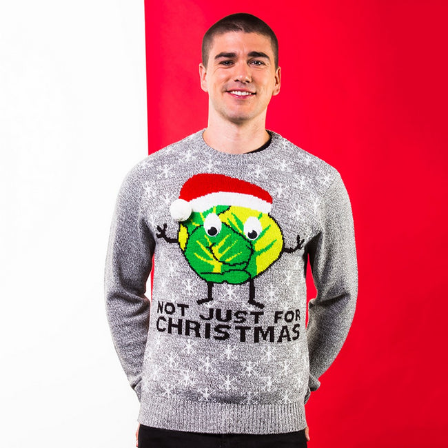 Grey - Back - Christmas Shop Adults Unisex Sprouts Christmas Jumper