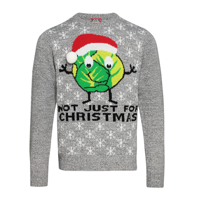 Grey - Front - Christmas Shop Adults Unisex Sprouts Christmas Jumper