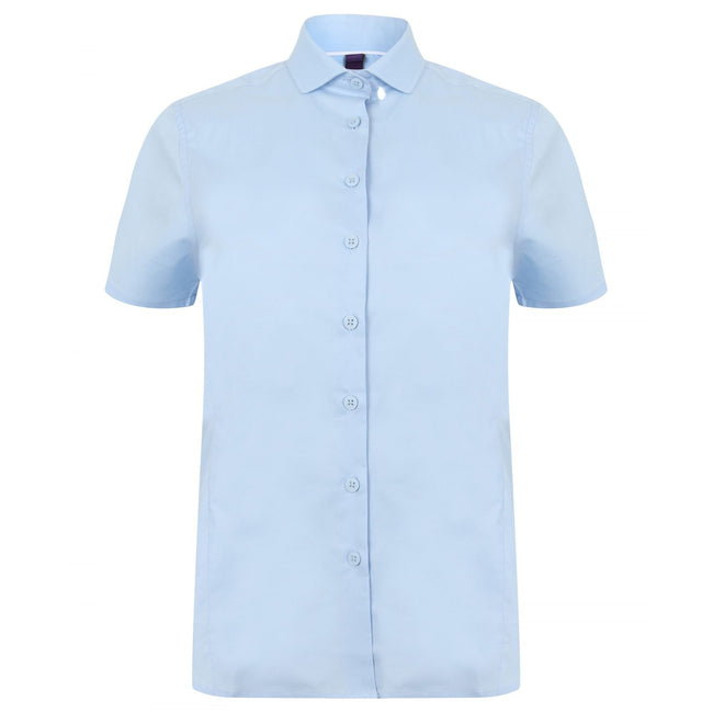 Light Blue - Front - Henbury Womens-Ladies Short Sleeve Stretch Shirt