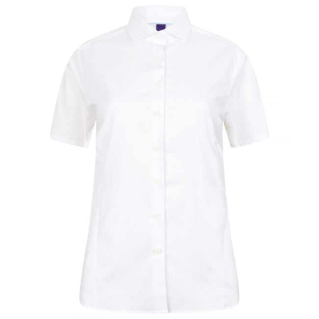 White - Front - Henbury Womens-Ladies Short Sleeve Stretch Shirt