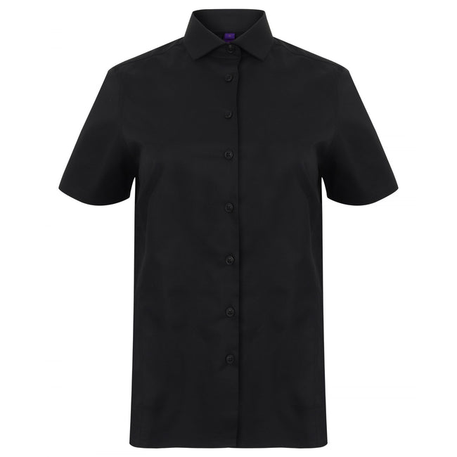 Black - Front - Henbury Womens-Ladies Short Sleeve Stretch Shirt