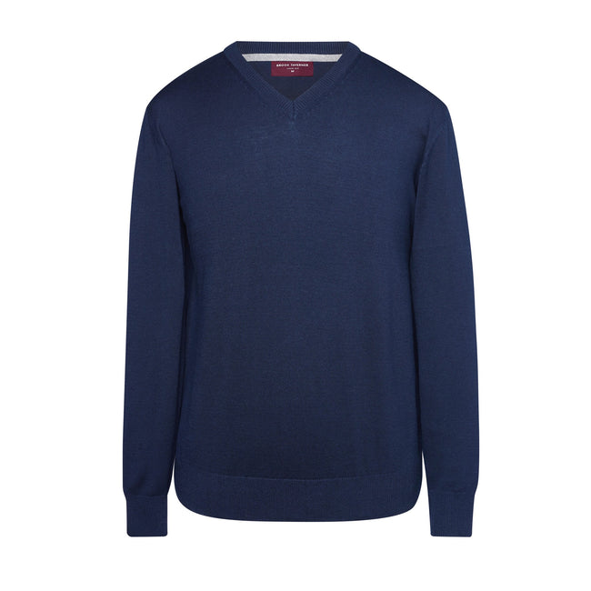 Navy - Front - Brook Taverner Mens Boston V-Neck Jumper