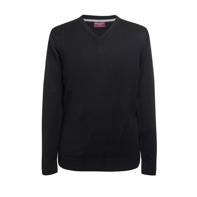Black - Front - Brook Taverner Mens Boston V-Neck Jumper