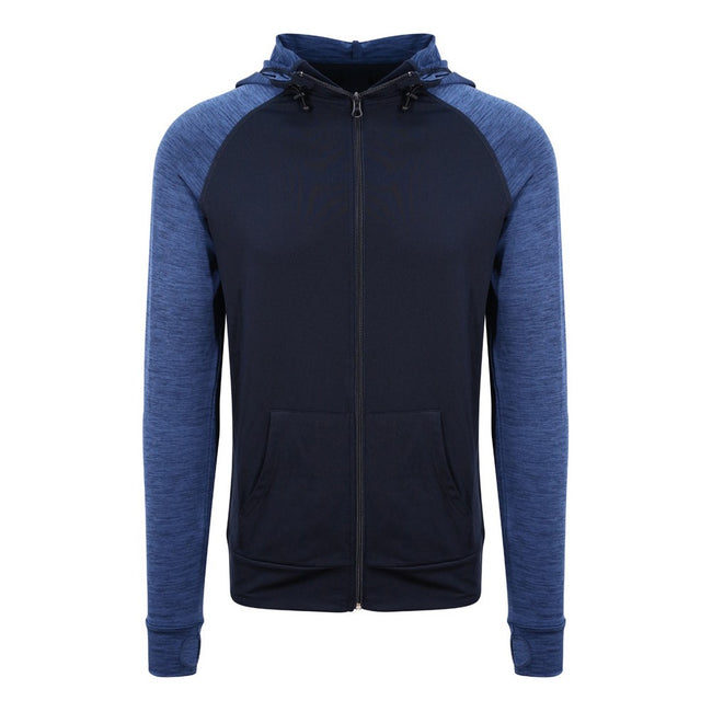 Navy-Navy Melange - Front - AWDis Just Cool Mens Contrast Zoodie