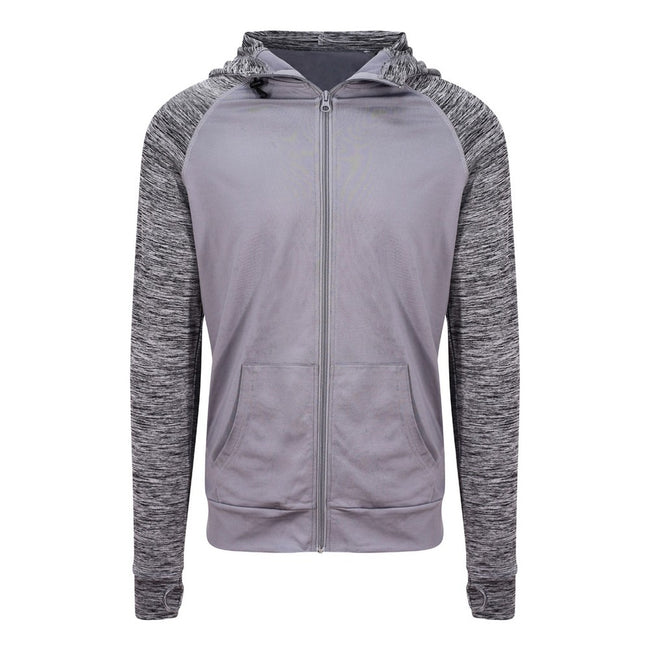 Grey-Grey Melange - Front - AWDis Just Cool Mens Contrast Zoodie