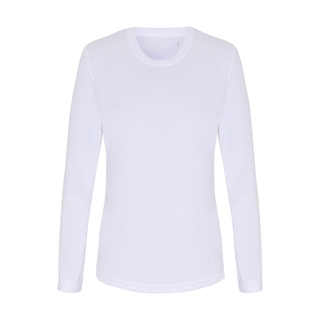 White - Front - TriDri Womens-Ladies Long Sleeve Performance T-Shirt