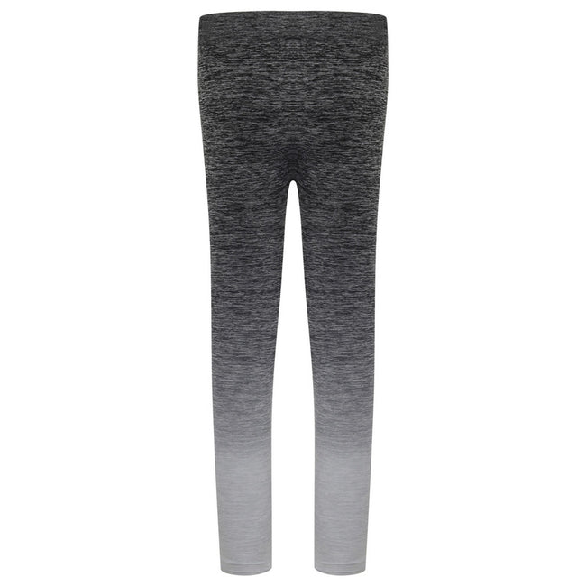 Dark Grey-Light Grey Marl - Back - Tombo Childrens Girls Seamless Fade-Out Leggings