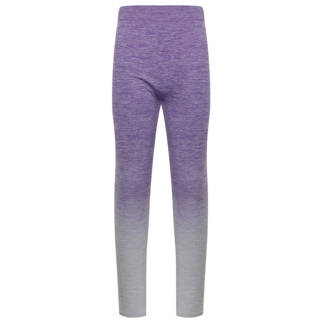 Purple-Light Grey Marl - Front - Tombo Childrens Girls Seamless Fade-Out Leggings