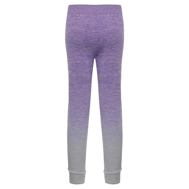 Purple-Light Grey Marl - Back - Tombo Childrens Girls Seamless Fade-Out Leggings