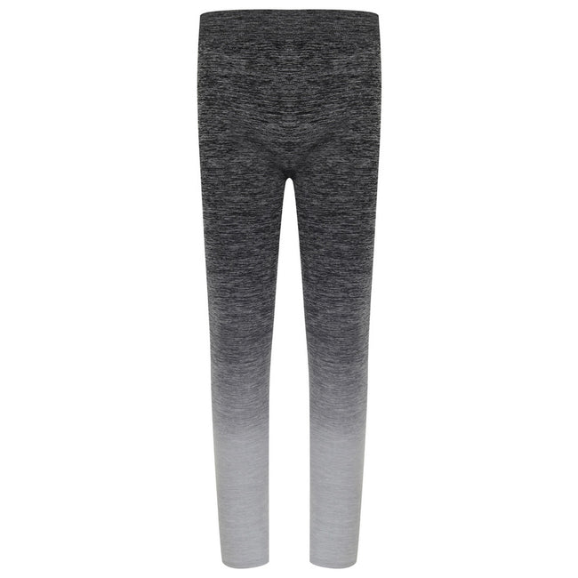 Dark Grey-Light Grey Marl - Front - Tombo Childrens Girls Seamless Fade-Out Leggings