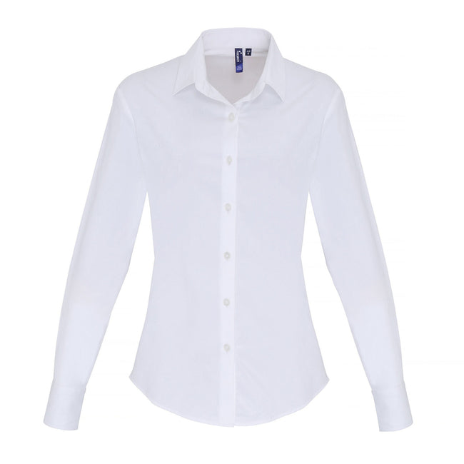White - Front - Premier Womens-Ladies Stretch Fit Poplin Long Sleeve Blouse
