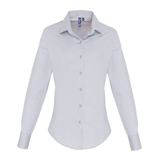 Silver - Front - Premier Womens-Ladies Stretch Fit Poplin Long Sleeve Blouse