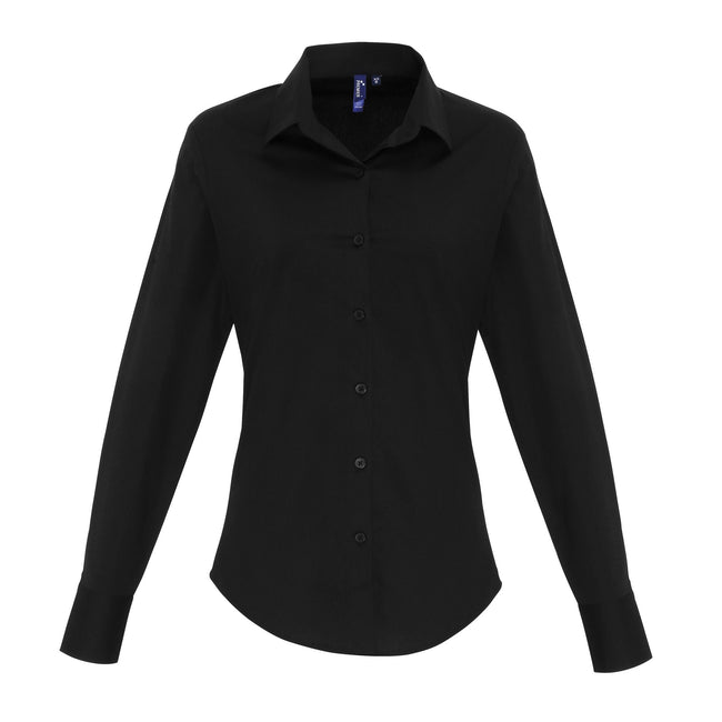 Black - Front - Premier Womens-Ladies Stretch Fit Poplin Long Sleeve Blouse