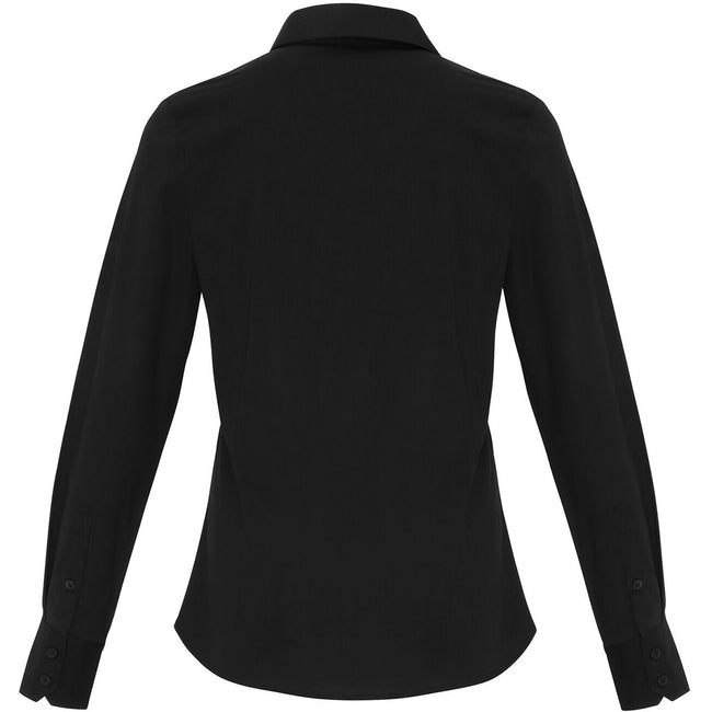 Black - Back - Premier Womens-Ladies Stretch Fit Poplin Long Sleeve Blouse