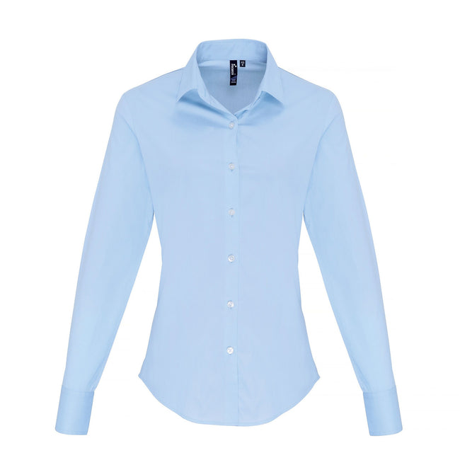 Pale Blue - Front - Premier Womens-Ladies Stretch Fit Poplin Long Sleeve Blouse