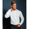 White - Pack Shot - Premier Mens Stretch Fit Poplin Long Sleeve Shirt