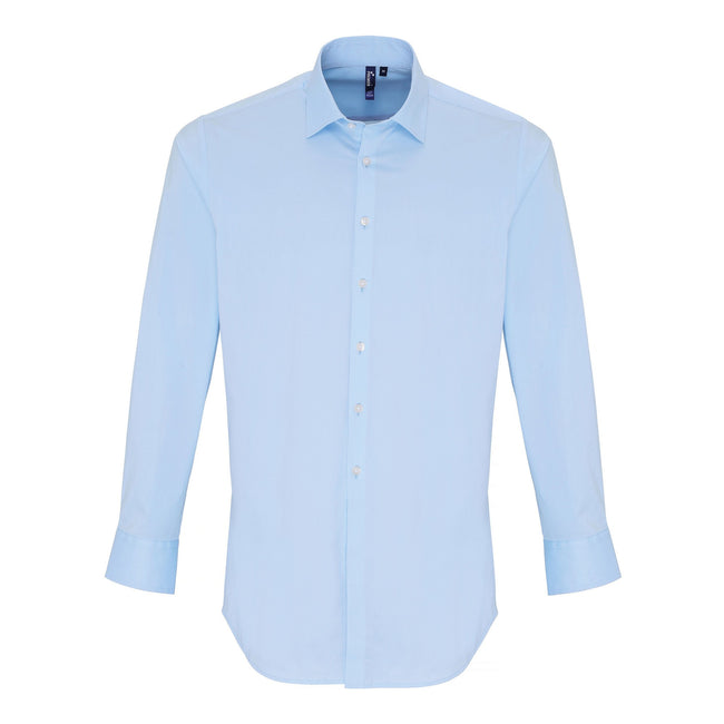 Pale Blue - Front - Premier Mens Stretch Fit Poplin Long Sleeve Shirt