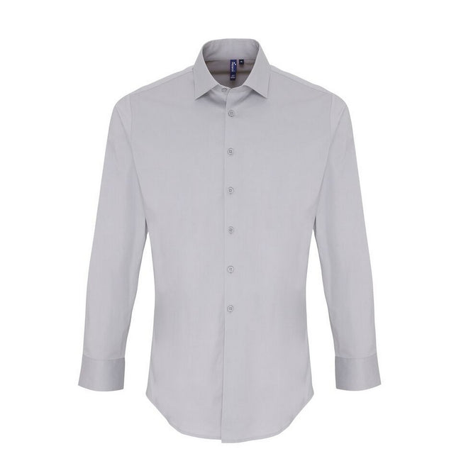 Silver - Front - Premier Mens Stretch Fit Poplin Long Sleeve Shirt