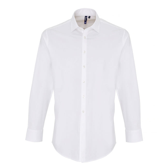 White - Front - Premier Mens Stretch Fit Poplin Long Sleeve Shirt