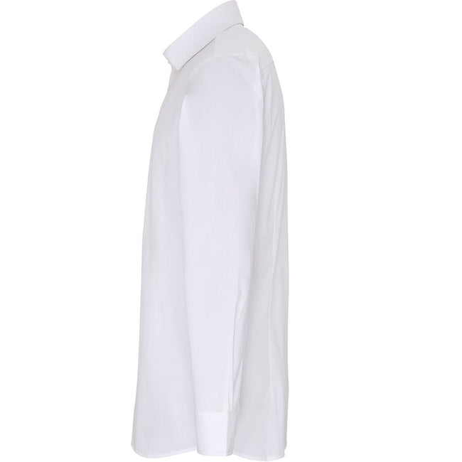 White - Side - Premier Mens Stretch Fit Poplin Long Sleeve Shirt