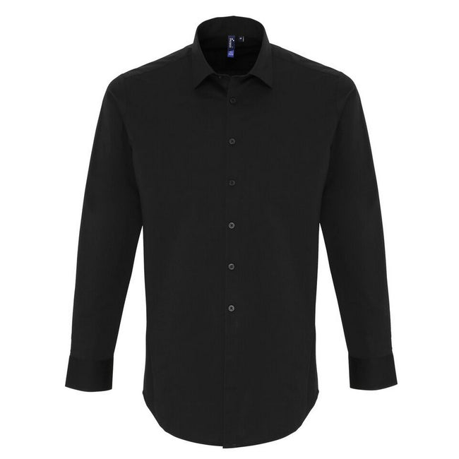 Black - Front - Premier Mens Stretch Fit Poplin Long Sleeve Shirt